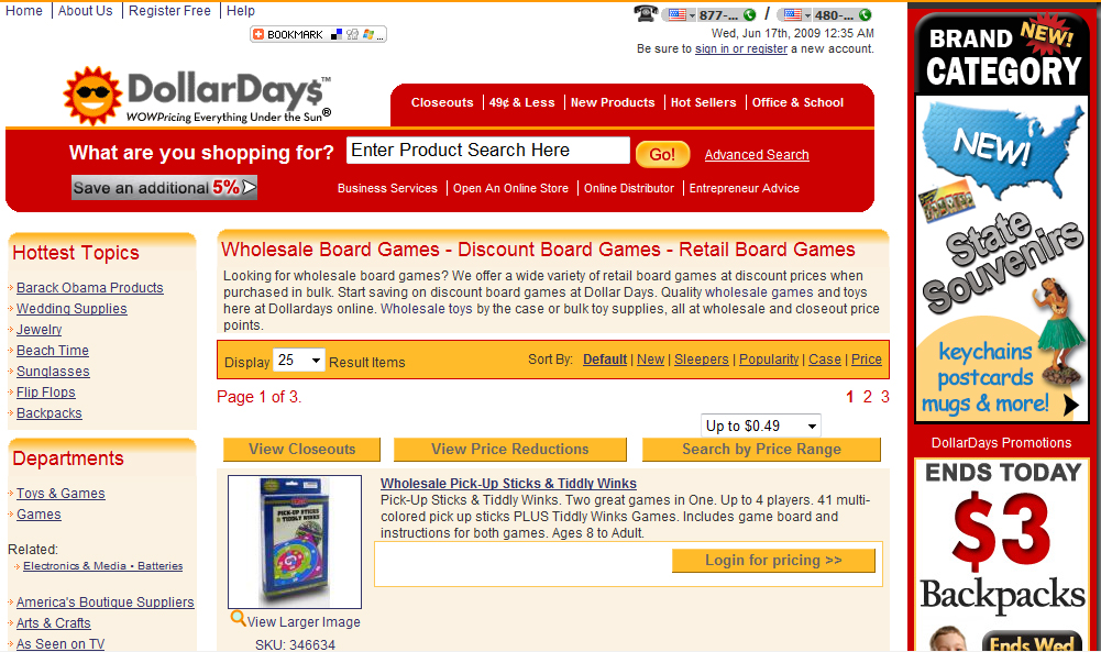 Dollar Days offers discount board games suitable for adults.