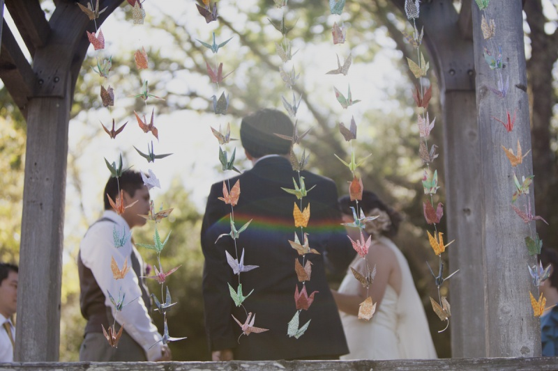 paper wedding decorations : origami cranes garland