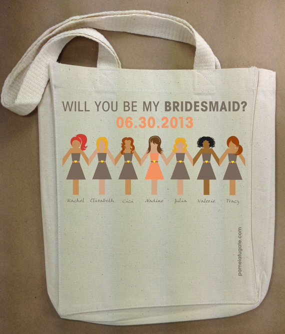 Will you be my bridesmaid tote idea